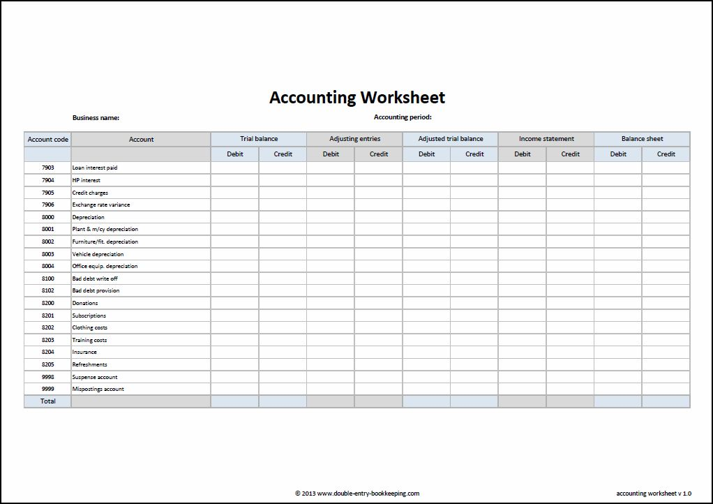 Basic Accounting Worksheet : Accounting worksheet template double entry bookkeeping