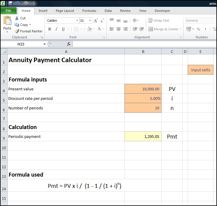 annuity payment calculator double entry bookkeeping