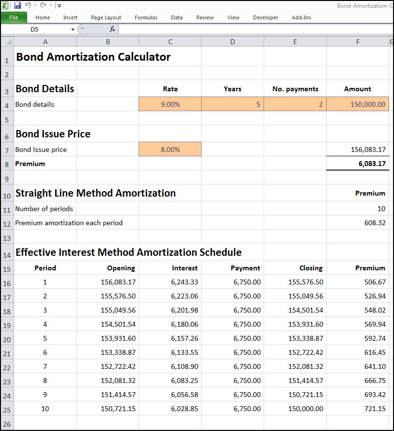 Bond Amortization Calculator | Double Entry Bookkeeping