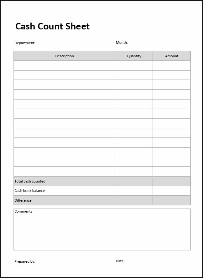 Entry Bookkeeping Count Sheet Double Cash