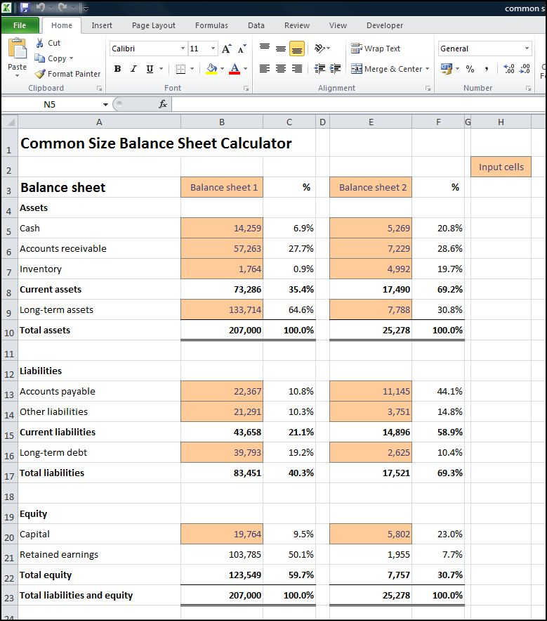 common size balance sheet calculator v 1.0