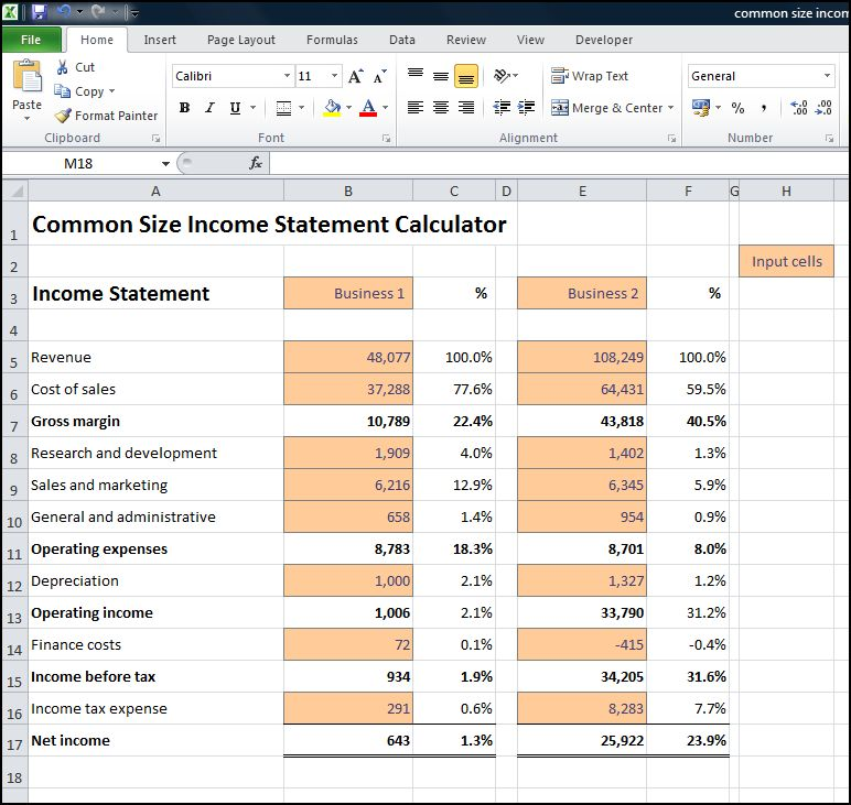 common size income statement calculator v 1.0