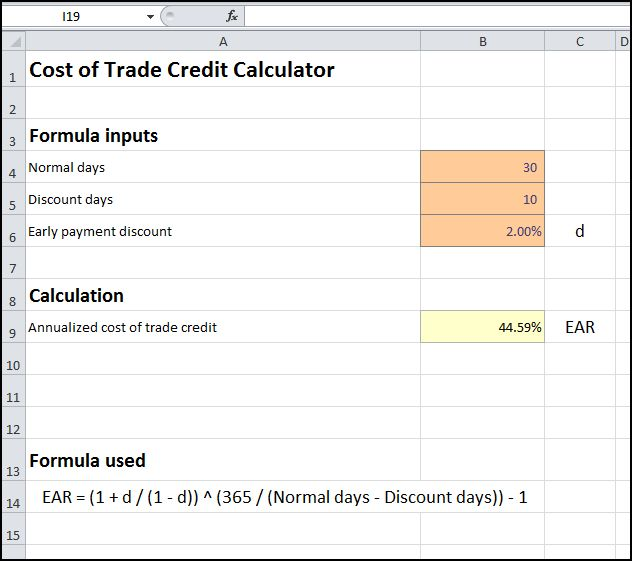 cost of trade credit calculator v 1.0