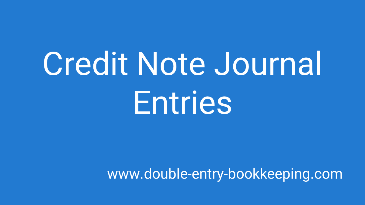 credit note journal entries