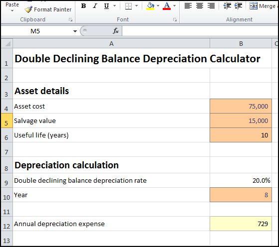 double declining balance depreciation calculator v 1.1