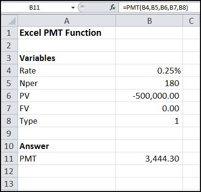 excel pmt function