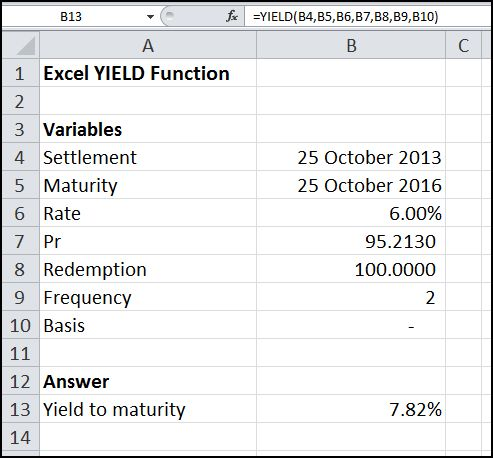 excel yield function v 1.0
