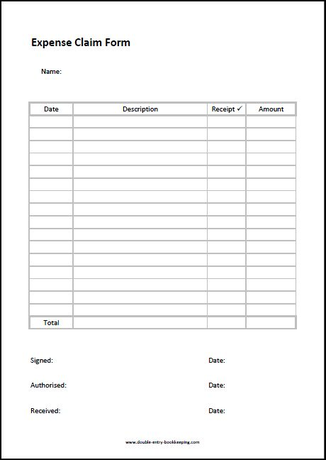 expenses claim forms template