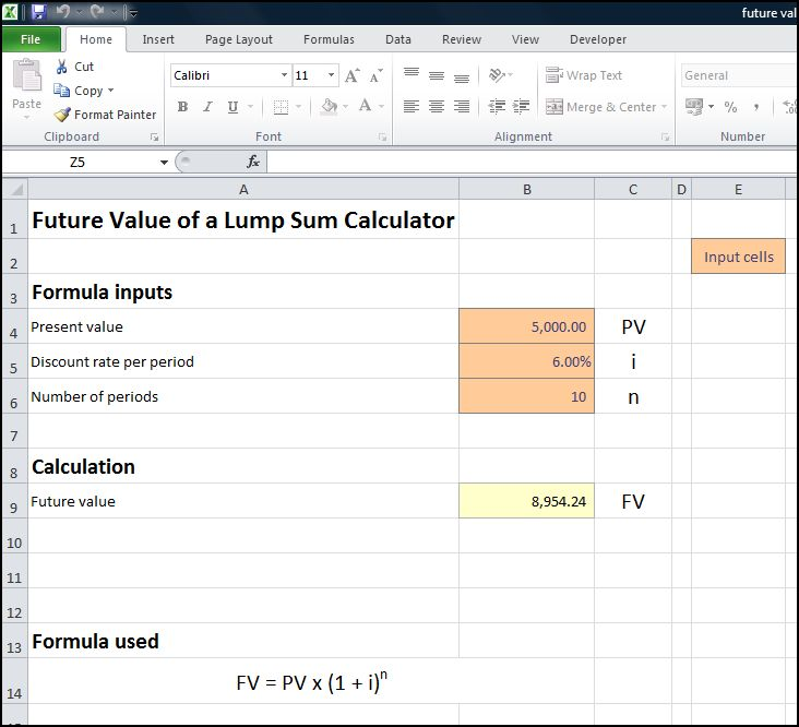 future value of a lump sum calculator v 1.0