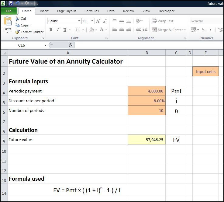 future value of an annuity calculator v 1.0