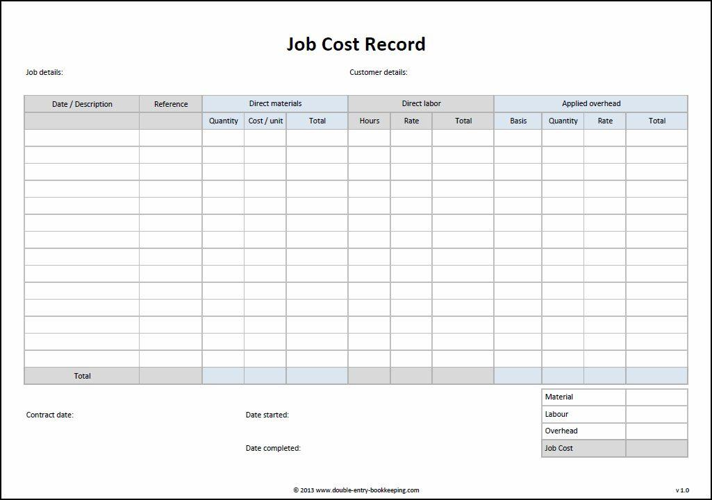 job cost record template
