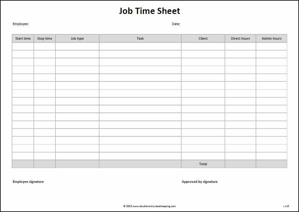 Job Time Sheet Template  Double Entry Bookkeeping