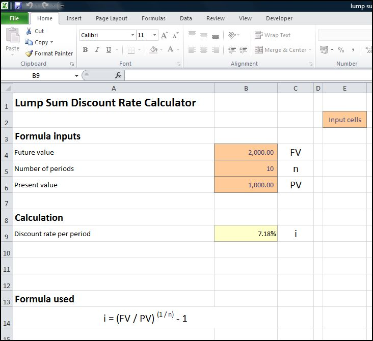 lump sum discount rate calculator v 1.0