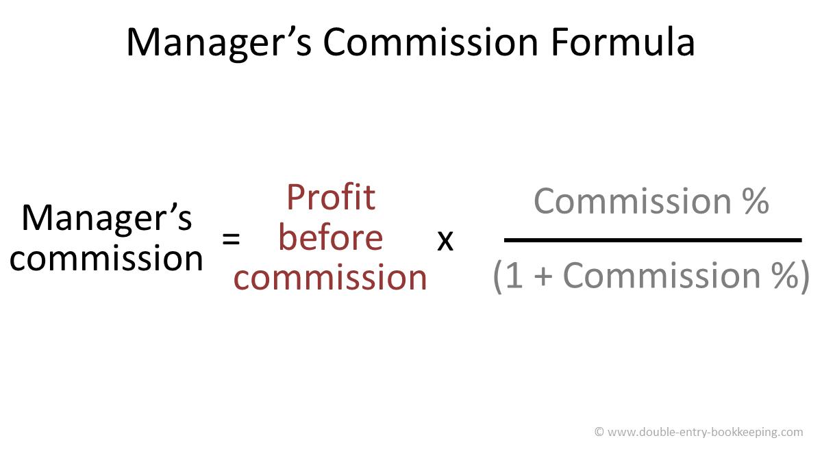 manager's commission formula