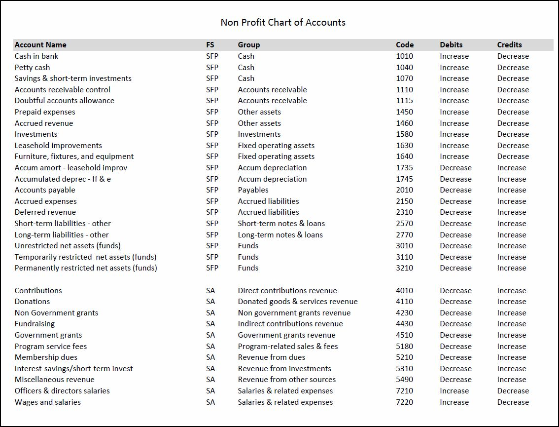 non profit chart of accounts v 1.0.01