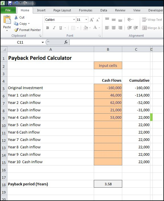 payback period calculator