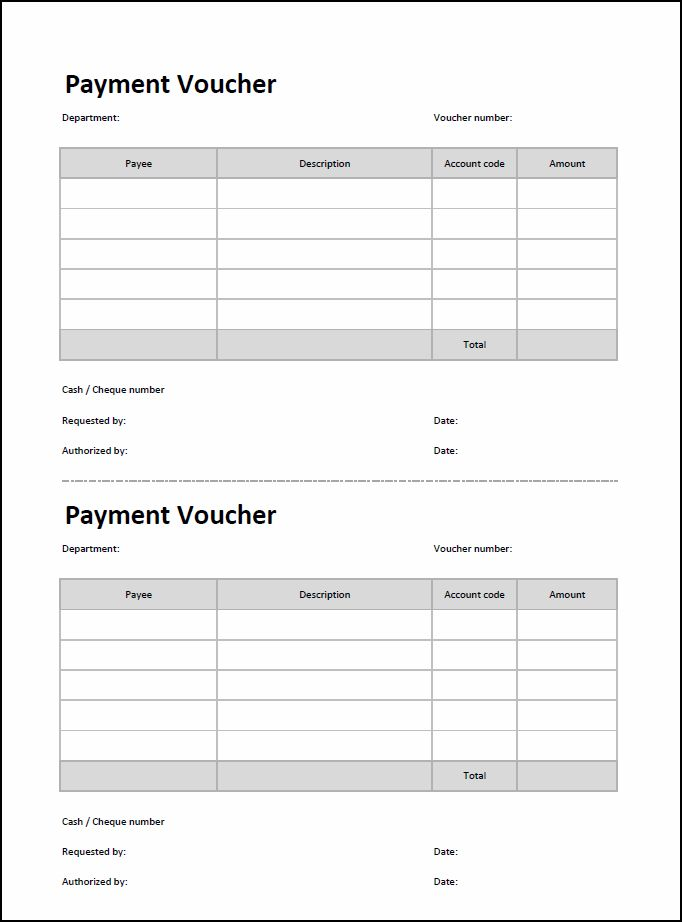 Payment Voucher Template - Double Entry Bookkeeping