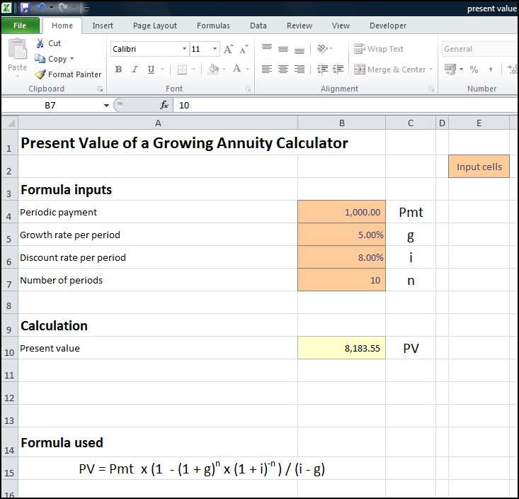 present value of a growing annuity calculator v 1.0d