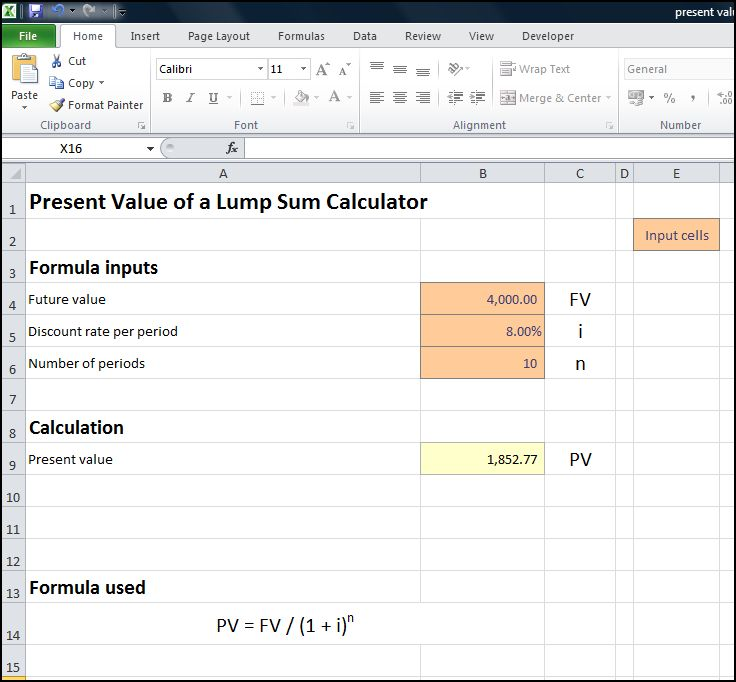 present value of a lump sum calculator v 1.1