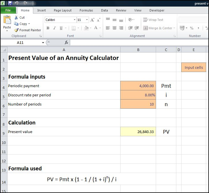 present value of an annuity calculator v 1.0