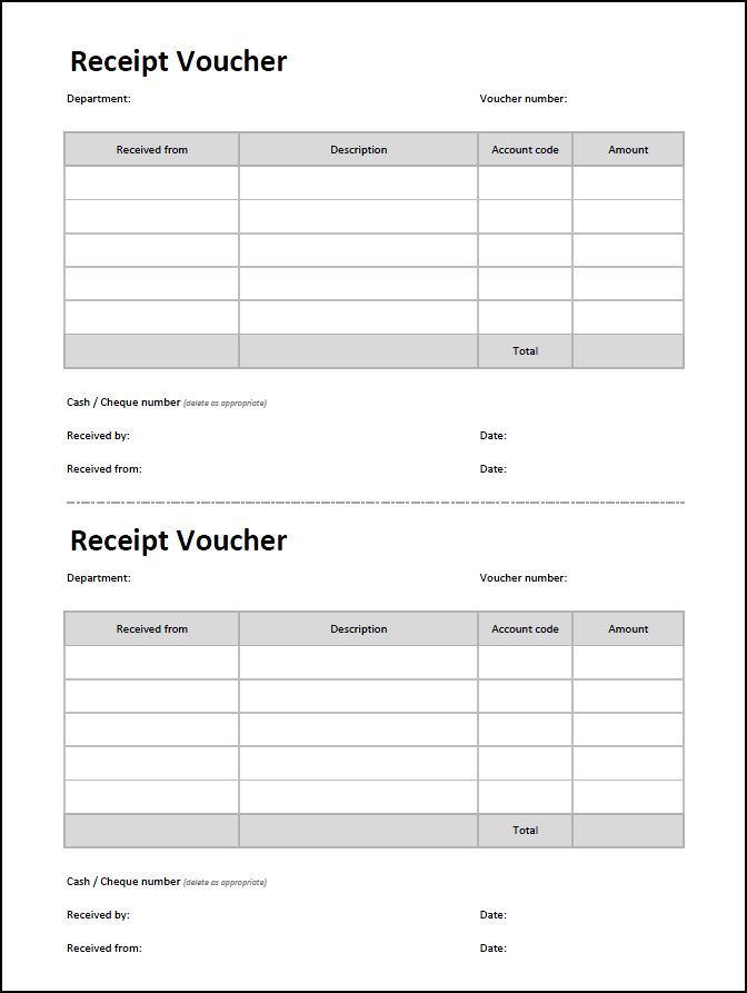 Receipt Voucher Template | Double Entry Bookkeeping