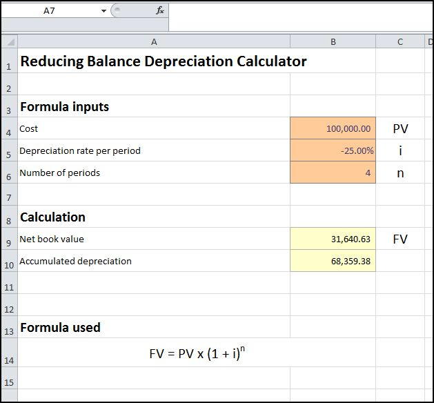reducing balance depreciation calculator v 2.0
