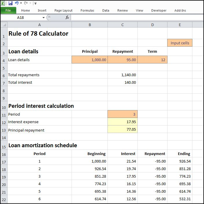 rule of 78 calculator v 1.0