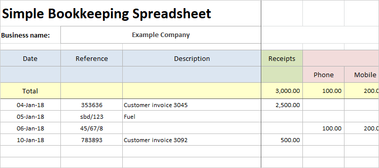 simple bookkeeping spreadsheet template