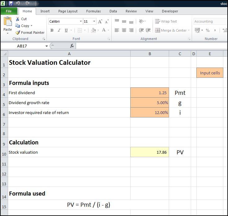 stock valuation calculator v 1.0