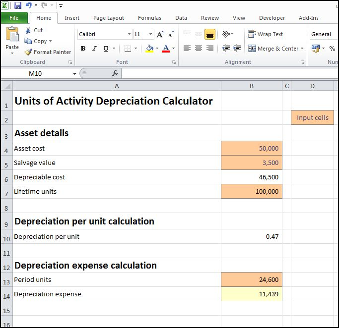 units of activity depreciation calculator v 1.0