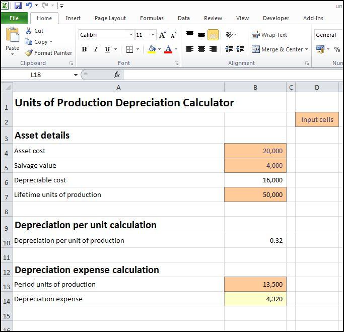 units of production depreciation calculator