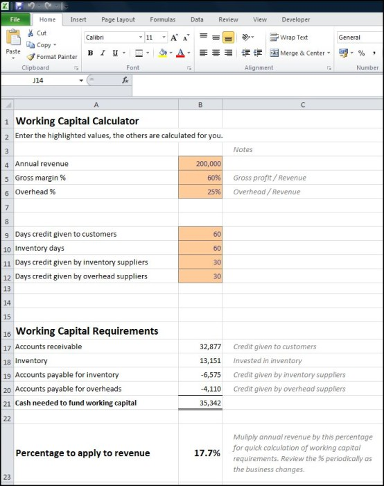 working capital calculator